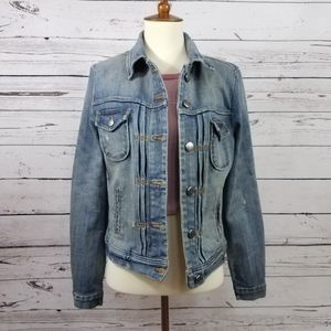 J. Crew Denim Jacket Sz XS Light Wash Distressed